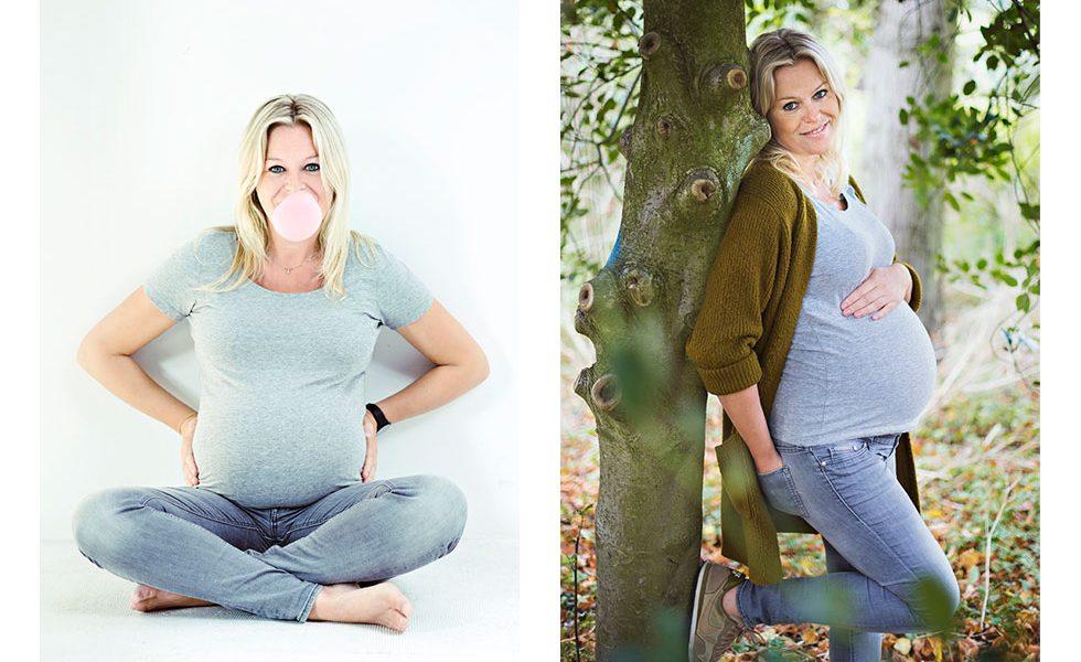 Zwangerschapsfotoshoot in de studio en het Prinsen Bolwerk Park in Haarlem